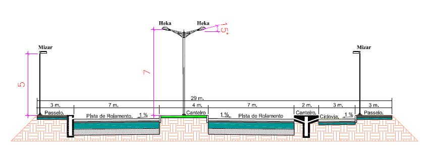 Fig. 2 – Desenho do projeto de iluminação viária